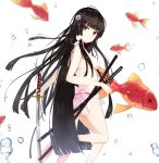 1girl animal animal_on_shoulder bikini black_hair breasts cat_on_shoulder eyebrows_visible_through_hair fish floating_hair flower goldfish hair_between_eyes hair_flower hair_ornament hime_cut holding holding_sword holding_weapon long_hair medium_breasts one_leg_raised original purple_flower red_eyes see-through sheath sheathed sideboob simple_background solo standing standing_on_one_leg swimsuit sword very_long_hair weapon white_background white_bikini zhiyou_ruozhe