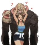 1boy 1girl ^_^ ^o^ armpits arms_up bare_arms blush breasts cleavage closed_eyes cowboy_shot hands_on_another's_head happy heart highres jill_valentine mariel_cartwright nemesis open_mouth resident_evil short_hair size_difference skirt smile stitches teeth