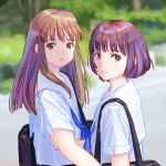 2girls bag blue_neckwear blurry blurry_background brown_eyes brown_hair closed_mouth depth_of_field eyebrows_visible_through_hair highres looking_at_viewer multiple_girls nazoani_museum necktie original parted_lips sailor_collar school_bag school_uniform serafuku shirt short_hair shoulder_bag smile white_sailor_collar white_shirt