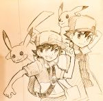 2boys adjusting_clothes adjusting_hat animal animal_on_shoulder backpack bag baseball_cap gen_1_pokemon graphite_(medium) hand_in_pocket hat highres jacket male_focus male_protagonist_(pokemon_lgpe) multiple_boys open_mouth pokemon pokemon_(anime) pokemon_(classic_anime) pokemon_(creature) pokemon_(game) pokemon_lgpe satoshi_(pokemon) sei_jun short_sleeves traditional_media upper_body