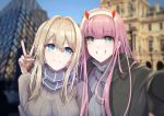 2girls absurdres arm_around_neck bangs black_coat blonde_hair blue_eyes blue_sky blurry blurry_background braid breasts brown_sweater changpan_hutao coat darling_in_the_franxx fang green_eyes grey_sweater grin hair_between_eyes highres long_hair medium_breasts multiple_girls open_clothes open_coat outdoors outstretched_arm pink_hair red_horns scarf self_shot sky smile striped striped_scarf sweater v violet_evergarden violet_evergarden_(character) zero_two_(darling_in_the_franxx)