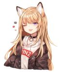 1girl ;p animal_ears black_jacket blonde_hair blue_eyes collar fox_ears highres hood hoodie jacket kmnz_lita long_hair mc_lita no_hat no_headwear off_shoulder one_eye_closed open_clothes open_jacket paw_print simple_background sukemyon tongue tongue_out virtual_youtuber white_background