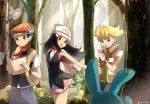 1girl 2boys aipom azumarill backpack bag bangs black_hair black_pants blonde_hair blue_pants bracelet brown_eyes day eyes floating_hair forest hair_between_eyes hat hikari_(pokemon) holding jewelry long_hair looking_back miniskirt multiple_boys nature open_mouth outdoors pants pink_skirt pokemon pokemon_(game) pokemon_dppt red_hat red_scarf ririmon roselia scarf shirt short_sleeves signature skirt sleeveless sleeveless_shirt striped striped_shirt sweatdrop tree white_hat