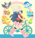 1girl :d bare_shoulders bicycle bidoof black_legwear black_shirt blue_eyes blue_hair boots bracelet budew buizel from_side gen_4_pokemon ground_vehicle hair_ornament hikari_(pokemon) jewelry kneehighs long_hair miniskirt open_mouth outline pink_footwear pink_skirt piplup pokemon pokemon_(creature) pokemon_(game) pokemon_dppt red_scarf rizu_(rizunm) scarf shinx shirt skirt smile starly tank_top walking yellow_outline