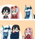 001_(darling_in_the_franxx) 1boy 2girls 2koma :t bangs black_hair blank_eyes blue_eyes blue_horns blue_skin blush_stickers comic commentary commentary_request darling_in_the_franxx eyebrows_visible_through_hair facial_scar flower fringe green_eyes hair_flower hair_ornament highres hiro_(darling_in_the_franxx) horns jealous light_blue_hair long_hair looking_at_another mato_(mozu_hayanie) military military_uniform multiple_girls musical_note necktie netorare oni_horns orange_neckwear parody pink_hair pout red_horns red_neckwear scar short_hair silent_comic spoken_musical_note style_parody sweat uniform user_cvct8874 zero_two_(darling_in_the_franxx)