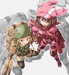 2girls animal_hat bandanna bibi black_legwear blonde_hair blush boots brown_hair bullpup commentary_request cross-laced_footwear from_above fukaziroh_(sao) gloves grey_background gun hat helmet highres llenn_(sao) long_sleeves multiple_girls open_mouth p90 pink_bandana pink_gloves pink_hat red_eyes short_hair simple_background smile striped striped_legwear submachine_gun sword_art_online sword_art_online_alternative:_gun_gale_online vertical-striped_legwear vertical_stripes weapon yellow_eyes zoom_layer