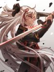 1girl bow breasts cherry_blossoms cleavage cleavage_cutout dark_skin fate/grand_order fate_(series) hair_bow hair_ornament highres holding holding_sword holding_weapon katana koha-ace long_hair looking_at_viewer mento okita_souji_(fate) okita_souji_alter_(fate) petals pink_hair solo sword tagme type-moon very_long_hair weapon