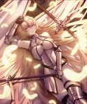 1girl absurdly_long_hair arm_up armor armored_boots armored_dress bangs banner black_legwear blonde_hair blunt_bangs boots breasts breasts_apart brown_eyes cecil86 dress eyebrows_visible_through_hair fate/apocrypha fate_(series) feathers from_above fur_trim gauntlets highres holding holding_weapon jeanne_d'arc_(fate) jeanne_d'arc_(fate)_(all) large_breasts long_hair looking_at_viewer lying on_back open_mouth smile solo sword thigh-highs thigh_boots very_long_hair weapon white_dress
