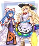 2girls alternate_hairstyle anger_vein armband bangs blonde_hair blue_eyes blue_hair boots bow breasts clothes_grab commentary_request cosplay costume_switch cross-laced_footwear dress eyebrows_visible_through_hair flying_sweatdrops food frilled_skirt frills fruit hair_between_eyes hair_ribbon hand_on_hip hands_on_own_chest hat hat_ribbon hinanawi_tenshi knee_boots layered_dress layered_skirt leaf long_hair long_sleeves looking_at_another looking_at_viewer mail_(mail_gell) medium_breasts mob_cap multiple_girls peach pout puffy_short_sleeves puffy_sleeves red_bow red_eyes ribbon short_sleeves skirt smile standing sword_of_hisou tabard tight_dress touhou trembling tress_ribbon trigram wavy_mouth white_dress yakumo_yukari yin_yang