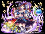 1girl :d beamed_sixteenth_notes black_background black_cape black_footwear black_gloves black_hat blue_bow blue_eyes boots bow breasts cape copyright_request eighth_note elbow_gloves gloves glowing hakuda_tofu hand_up hat high_collar holding holding_staff medium_breasts multicolored multicolored_cape multicolored_clothes musical_note official_art open_mouth pleated_skirt purple_skirt quarter_note simple_background skirt smile solo sparkle staff star striped striped_bow thigh-highs treble_clef watermark white_bow white_cape white_legwear witch_hat