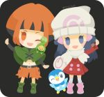 2girls :d arm_up bag belt belt_buckle black_belt blue_eyes blue_hair buckle budew capelet capri_pants coat duffel_bag gen_4_pokemon green_capelet gym_leader hair_ornament hat hikari_(pokemon) kneehighs long_hair long_sleeves looking_at_viewer multiple_girls natane_(pokemon) navel open_mouth orange_eyes orange_hair orange_pants pants pink_footwear piplup pokemon pokemon_(creature) pokemon_(game) pokemon_dppt pokemon_platinum red_coat rizu_(rizunm) scarf short_hair smile standing twitter_username white_hat white_legwear white_scarf