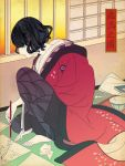 barefoot black_hair fate/grand_order fate_(series) fine_art_parody holding holding_paintbrush japanese_clothes katsushika_hokusai_(fate/grand_order) kimono nihonga ono800 paintbrush parody short_hair sitting ukiyo-e wavy_hair