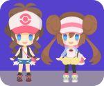 2girls :d bag bangs bare_shoulders black_legwear blue_eyes blue_shorts brown_hair cutoffs double_bun full_body hair_between_eyes handbag long_sleeves looking_at_viewer mei_(pokemon) multiple_girls open_clothes open_mouth open_vest pantyhose pantyhose_under_shorts pokemon pokemon_(game) pokemon_bw pokemon_bw2 ponytail raglan_sleeves rizu_(rizunm) shirt shorts sidelocks sleeves_past_elbows smile standing touko_(pokemon) twintails vest visor_cap white_shirt wristband yellow_shorts