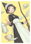 1girl apron back_bow black_dress black_hair bow breasts broom brown_eyes commentary_request cup dress grin holding holding_broom large_bow long_hair maid_headdress mogumo pouring saucer small_breasts smile solo standing tea teacup teapot waist_apron white_background yellow_background