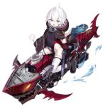 1girl azur_lane backpack bag bangs black_footwear black_gloves black_swimsuit boots brown_cloak candy capriccio chestnut_mouth cloak commentary_request covered_navel crime_prevention_buzzer eyebrows_visible_through_hair fang food gloves grey_eyes gun hair_between_eyes holding holding_food holding_gun holding_lollipop holding_weapon hood hood_down hooded_cloak iron_cross lollipop looking_at_viewer official_art one-piece_swimsuit open_mouth randoseru sitting skindentation smile swimsuit swirl_lollipop thigh-highs torpedo transparent_background u-110_(azur_lane) water weapon white_hair white_legwear