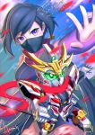 1girl artist_name ayame_(gundam_build_divers) black_hair breasts chibi chibi_inset clouds cloudy_sky commentary_request elbow_gloves face_mask gloves green_eyes gundam gundam_build_divers large_breasts long_hair looking_at_viewer low_ponytail mask mecha ninja ninjatou nt-d petals red_scarf reverse_grip rx-zeromaru scarf sd_gundam signature sky split_ponytail violet_eyes wa-kun