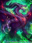 absurdres bird claws commentary_request dragon glowing glowing_eyes green highres lightning monster no_humans official_art open_mouth outdoors seisen_cerberus watermark z.dk
