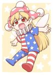 1girl :d american_flag_dress american_flag_legwear blonde_hair blush chibi clownpiece commentary_request fairy_wings hat jester_cap looking_at_viewer open_mouth outstretched_arms pantyhose poronegi red_eyes short_sleeves smile solo spread_arms star star_print starry_background touhou wings yellow_background