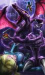 2girls absurdres battle blonde_hair bodysuit claws clenched_teeth closed_eyes dark_clouds defeat dual_persona electricity fangs glowing glowing_eyes hammer helmet highres kirby kirby_(series) lightning lying metroid monster multiple_girls on_back rain ridley samus_aran super_smash_bros. tail tail_wrap talons teeth tongue varia_suit wet wings zero_suit zuma_(zuma_yskn)