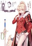1boy 2girls absurdres adjusting_tie bandeau black_hair blonde_hair blue_eyes braid cape cleopatra_(fate/grand_order) cosplay costume_switch crocea_mors earrings fate/apocrypha fate/grand_order fate_(series) french_braid fur-trimmed_cape fur_trim giving_up_the_ghost hair_ornament hair_scrunchie hairband highres jacket jewelry julius_caesar_(fate/grand_order) laurel_crown long_hair mordred_(fate) mordred_(fate)_(all) multiple_girls necklace necktie ponytail red_cape red_clothes red_jacket red_scrunchie saruchitan scrunchie simple_background skirt smile sword translation_request weapon white_background white_skirt