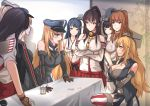 6+girls akagi_(kantai_collection) akizuki_(kantai_collection) antiqq bare_shoulders bismarck_(kantai_collection) black_hair blonde_hair blue_eyes breast_hold breasts brown_eyes brown_gloves brown_hair crossed_arms detached_sleeves dress food food_on_face front-tie_top gloves graf_zeppelin_(kantai_collection) hair_between_eyes hairband hakama haruna_(kantai_collection) hat headgear iowa_(kantai_collection) japanese_clothes kantai_collection large_breasts long_hair long_sleeves military military_hat military_uniform multiple_girls nontraditional_miko open_mouth partly_fingerless_gloves peaked_cap pleated_skirt ponytail prinz_eugen_(kantai_collection) pudding red_hakama red_skirt saratoga_(kantai_collection) short_hair short_sleeves skirt smile tasuki thigh-highs uniform white_dress yamato_(kantai_collection) yugake z_flag