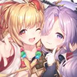 2girls animal_ears bangs bare_shoulders blonde_hair blush cape cheek-to-cheek commentary_request detached_sleeves dress eyebrows_visible_through_hair granblue_fantasy hair_between_eyes hair_ornament hair_over_one_eye hair_stick harvin long_hair long_sleeves looking_at_viewer mahira_(granblue_fantasy) midriff multiple_girls nio_(granblue_fantasy) open_mouth outstretched_hand pointy_ears ponytail portrait purple_hair reaching_out red_eyes sidelocks smile topia very_long_hair violet_eyes wide_sleeves