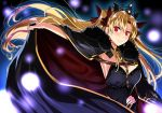 1girl black_cape black_dress blonde_hair blurry bow breasts cape cape_lift commentary_request depth_of_field dress earrings ereshkigal_(fate/grand_order) fate/grand_order fate_(series) hair_bow hair_ribbon hand_on_hip jewelry kloah large_breasts long_hair red_eyes ribbon single_sleeve skull smile tiara twintails upper_body