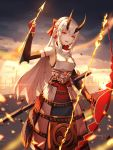 1girl absurdres armor bow_(weapon) breasts fate/grand_order fate_(series) foka_(beginner) hair_between_eyes headband highres holding holding_bow_(weapon) holding_weapon horns japanese_armor japanese_clothes kusazuri oni oni_horns open_mouth red_eyes slit_pupils sode solo tomoe_gozen_(fate/grand_order) weapon white_hair