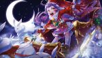 1girl alternate_costume animal_ears blush bunny_tail christmas coffinkun force_of_will fur_trim gift gloves hat kaguya_(force_of_will) long_hair low_twintails moon night night_sky open_mouth purple_hair rabbit rabbit_ears sandals santa_costume santa_hat sky solo sparkle star_(sky) tail teeth thigh-highs twintails yellow_eyes