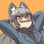 1girl animal_ears arms_behind_head black_neckwear blue_jacket bow bowtie extra_ears eyebrows_visible_through_hair fox_ears highres jacket kemono_friends long_hair necktie omnisucker orange_background orange_eyes pencil silver_fox_(kemono_friends) silver_hair simple_background solo upper_body