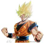 1boy blonde_hair clenched_hands dougi dragon_ball dragonball_z fingernails frown green_eyes highres light light_rays looking_away male_focus shaded_face short_hair simple_background smile son_gokuu spiky_hair standing sunlight super_saiyan twitter_username upper_body watermark web_address white_background wristband