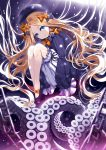 1girl abigail_williams_(fate/grand_order) black_bow black_footwear black_hair black_ribbon blonde_hair blue_eyes bow chains fate/grand_order fate_(series) floating_hair full_body hair_bow highres long_hair morizono_shiki orange_bow orange_neckwear pixiv_fate/grand_order_contest_2 polka_dot polka_dot_bow pumps ribbon shorts solo tentacle very_long_hair white_shorts