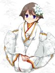 1girl alternate_costume blue_eyes bride brown_hair commentary_request flipped_hair flower full_body hair_flower hair_ornament hiei_(kantai_collection) japanese_clothes jewelry kanoe_soushi kantai_collection kimono ring seiza short_hair sitting solo uchikake wedding_band white_background white_flower white_kimono
