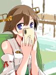 1girl blush brown_hair cellphone covering_face detached_sleeves headgear hiei_(kantai_collection) indoors kanoe_soushi kantai_collection looking_at_viewer nontraditional_miko phone ribbon-trimmed_sleeves ribbon_trim short_hair solo spoken_blush twitter_username upper_body violet_eyes
