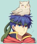 1boy 1other ? angry bird blue_eyes blue_hair cape confused feh_(fire_emblem_heroes) fire_emblem fire_emblem:_souen_no_kiseki fire_emblem_heroes headband human ike intelligent_systems long_hair male_focus nintendo owl short_hair simple_background smile solo wusagi2
