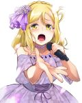 1girl blonde_hair braid commentary_request corset crown_braid dress floral_print flower flower_necklace foreshortening hair_flower hair_ornament hair_rings highres holding holding_microphone jewelry love_live! love_live!_sunshine!! medium_hair microphone music nanotsuki necklace off-shoulder_dress off_shoulder ohara_mari open_mouth outstretched_hand print_dress purple_dress purple_flower singing solo tearing_up white_background yellow_eyes