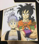 1boy 1girl 2018 bare_arms belt black_eyes black_hair blue_eyes breasts bulma choker close-up clothes_writing commentary_request crossed_arms dated dragon_ball dragon_ball_(classic) eyelashes height_difference highres lee_(dragon_garou) long_hair looking_at_viewer neckerchief photo ponytail purple_hair shaded_face shikishi simple_background smile tank_top traditional_media upper_body waistcoat white_background white_tank_top wristband yamcha