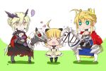 >_< ... 3girls ahoge artoria_pendragon_(all) artoria_pendragon_(lancer) artoria_pendragon_(lancer_alter) black_bow blonde_hair blush bow breasts cape chibi cleavage closed_eyes crown dun_stallion fate/grand_order fate_(series) flying_sweatdrops gauntlets green_eyes hair_bow heart highres horse horseback_riding llamrei_(fate) multiple_girls multiple_persona open_mouth red_eyes riding saber_lily shadow spoken_ellipsis tsuchiya_madose under_boob yellow_eyes