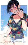 1girl black_hair bracelet braces hawaiian_shirt highres jewelry nashigaya_koyomi open_mouth original shirt short_ponytail shorts smile solo sunglasses watch