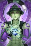 1boy abs black_nails cropped_jacket feathered_wings feathers fewer_digits green_jacket green_sclera green_skin highres hunter_x_hunter jacket lips looking_at_viewer meruem multicolored multicolored_skin muscle nail_polish pink_eyes purple_skin purple_wings sleeveless_jacket sphere stinger tail upper_body wings zv33
