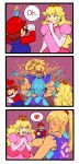 1boy 2girls 3koma biceps big_nose bisexual_(female) blonde_hair brown_hair comic dress flexing hat heart highres lachrymosley mario mario_(series) metroid multiple_girls muscle muscular_female netorare open_mouth overalls pink_dress ponytail pose princess_peach samus_aran smile spoken_heart super_mario_bros. super_smash_bros. tearing_up zero_suit