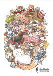amesho-san artist_name blue_hat cat cat_focus character_request closed_eyes commentary crown ekichou-san english_commentary food_bowl grey_cat ground_vehicle hat house kid-san manzoku-san maromayu-san nagagutsu-san neko_atsume no_humans purrince-san rachta_lin shironeko_(neko_atsume) sphinx-san standing tagme tatejima-san train walking_stick watermark web_address white_cat