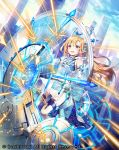 1girl :o blonde_hair blue_sky building cardfight!!_vanguard clouds day full_body holographic_monitor long_hair nemusuke official_art outdoors shield sky skyscraper solo watermark