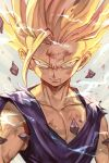1boy antenna_hair arms_at_sides aura blonde_hair close-up dirty dougi dragon_ball dragonball_z floating floating_rock frown green_eyes grey_background hankuri looking_at_viewer male_focus rock serious short_hair simple_background son_gohan spiky_hair standing super_saiyan torn_clothes upper_body
