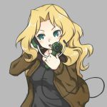 1girl :d black_shirt blonde_hair breasts brown_jacket eyebrows_visible_through_hair floating_hair girls_und_panzer green_eyes grey_background holding jacket kay_(girls_und_panzer) long_hair medium_breasts open_clothes open_jacket open_mouth riruhasu_(sesu_n) shirt simple_background sketch smile solo upper_body