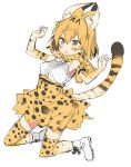 1girl animal_ears araki_kanao blonde_hair bow bowtie commentary cross-laced_footwear elbow_gloves extra_ears eyebrows_visible_through_hair full_body gloves high-waist_skirt jumping kemono_friends open_mouth print_gloves print_neckwear print_skirt serval_(kemono_friends) serval_ears serval_print serval_tail shoes short_hair simple_background skirt sleeveless solo striped_tail tail w_arms white_background white_footwear yellow_eyes yellow_gloves yellow_legwear yellow_neckwear yellow_skirt