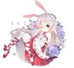 animal_ears bangs bare_shoulders commission floating flower full_body hydrangea japanese_clothes kimono lilianei long_hair one_eye_closed original rabbit_ears smile white_hair