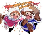 1boy 1girl ^_^ black_eyes blush_stickers brown_gloves brown_hair celebration closed_eyes confetti gloves home_(houmei) ice_climber mallet nana_(ice_climber) open_mouth parka popo_(ice_climber) rope simple_background smile spiked_boots super_smash_bros. tearing_up white_background