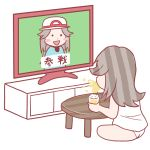 2girls blue_(pokemon) commentary drinking irasutoya multiple_girls panties parody pokemon pokemon_(game) pokemon_frlg pokemon_rgby spitting super_smash_bros. television underwear watching_television