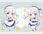2girls :d apron azur_lane belchan_(azur_lane) belfast_(azur_lane) bird black_dress black_footwear blue_ribbon blush bow braid chestnut_mouth chibi commentary_request cup dress elbow_gloves gloves grey_background hair_ribbon hand_up ju_(a793391187) lace_border long_hair looking_at_viewer maid maid_headdress mary_janes multiple_girls one_side_up open_mouth pantyhose ribbon shoes silver_hair simple_background sleeveless sleeveless_dress smile standing standing_on_one_leg teacup teapot tray very_long_hair violet_eyes waist_apron white_apron white_gloves white_legwear yellow_bow